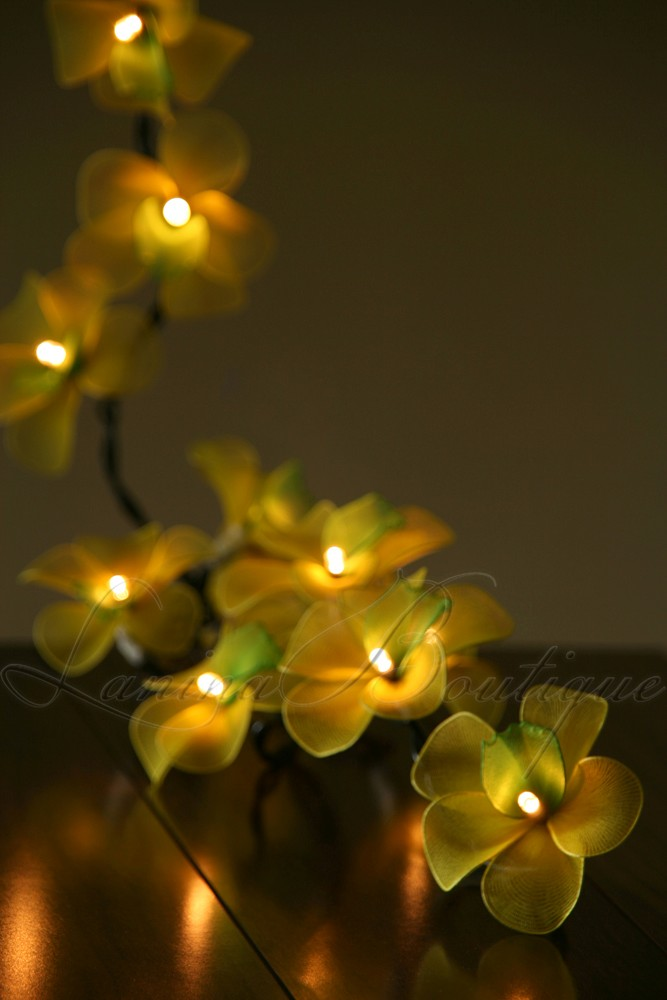 Green Flower String Lights : 20 Yellow Green Orchid Flower LED String Fairy Lights Lanterns NEW Party Patio eBay