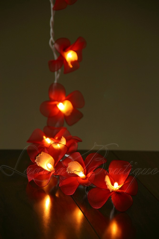 Fairy String Lights Plug In : 20 or 35 LED Nylon Orchid Flower String Fairy Lights Floral Wedding Decor PlugIn