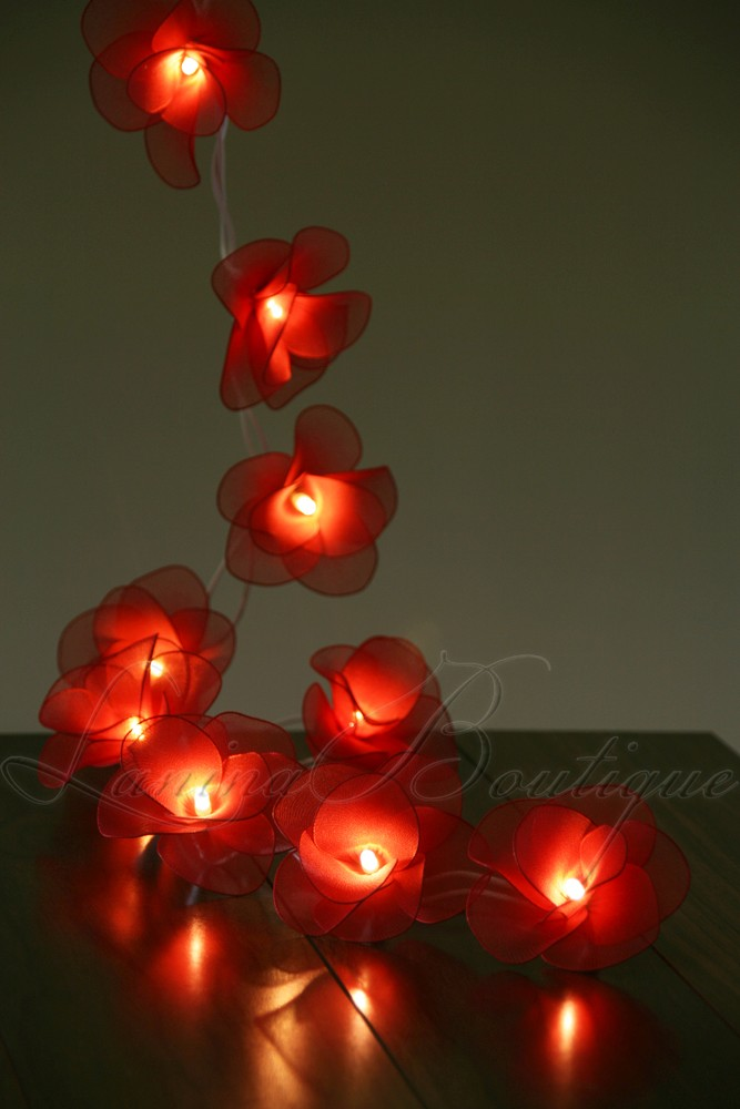 20 RED Nylon Rose Flower LED String Fairy Lights Christmas Valentines Decor Gift eBay