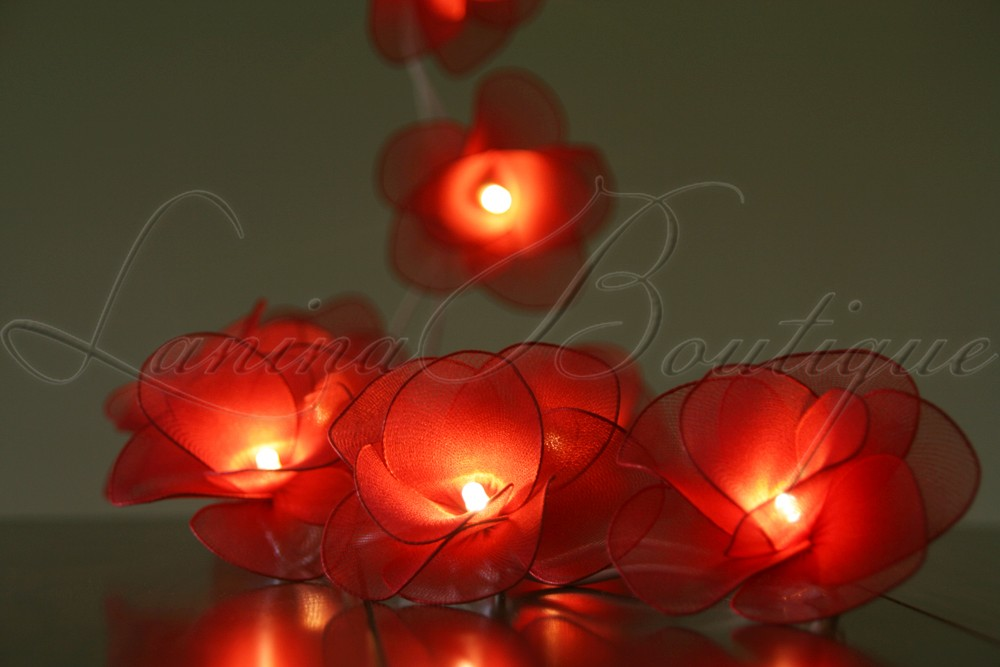 20 Red Nylon Rose Flower Battery Operated LED String Fairy Lights ...