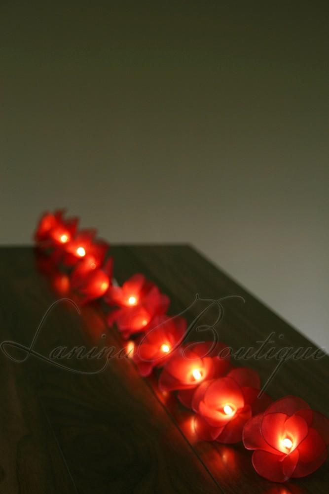 String Of Red Christmas Lights : 20 RED Nylon Rose Flower LED String Fairy Lights Christmas Valentines Decor Gift eBay