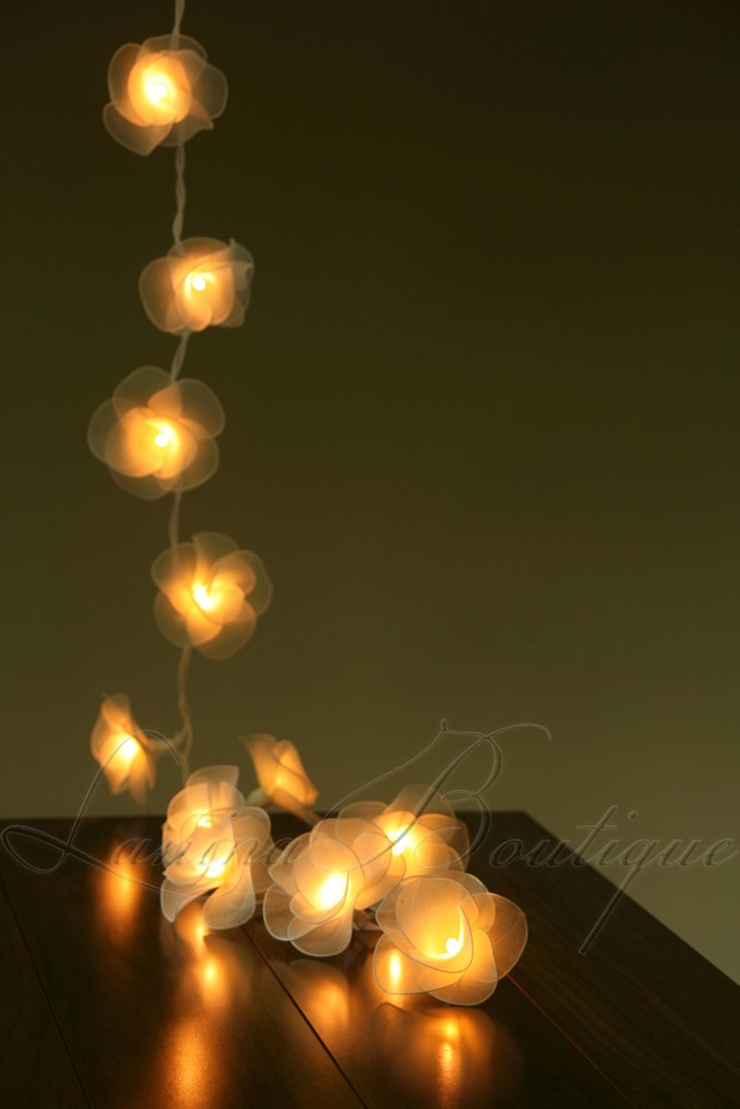 20 CREAM Nylon Rose Flower LED String Fairy Lights Lanterns Wedding Decor Floral eBay