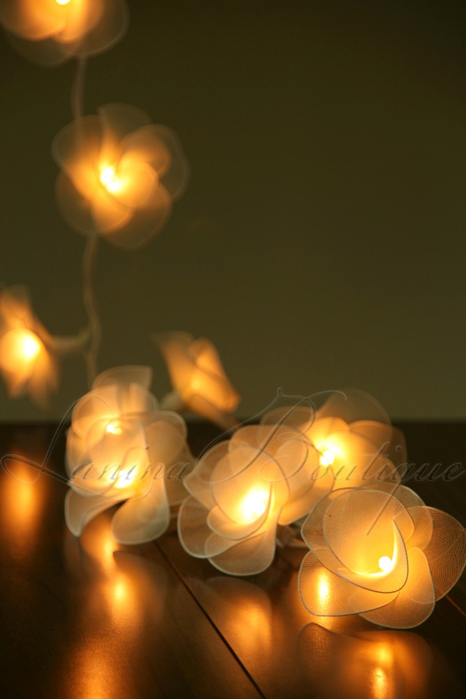 20 cream nylon rose flower led string fairy lights. Black Bedroom Furniture Sets. Home Design Ideas