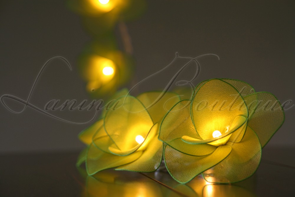 20 GREEN Nylon Rose Flower LED String Fairy Lights Floral Decoration Christmas eBay