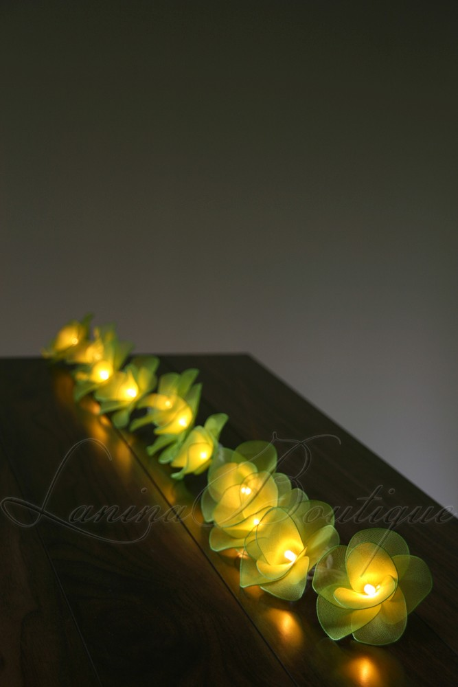 Green Flower String Lights : 20 GREEN Nylon Rose Flower LED String Fairy Lights Floral Decoration Christmas eBay