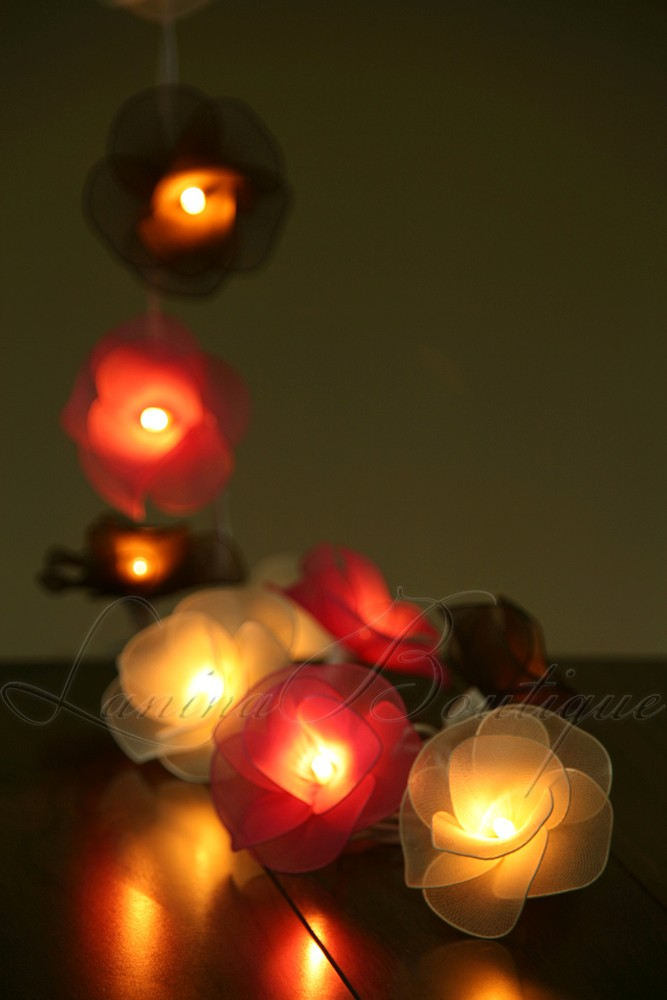 Fairy String Lights Plug In : 20 or 35 LED Nylon Rose Flower Plug In String Fairy Lights Floral Wedding Party