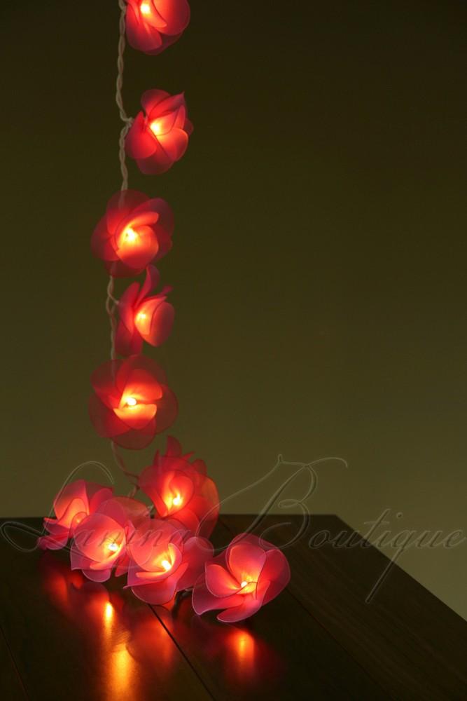 20 pink nylon rose flower battery powered led string fairy. Black Bedroom Furniture Sets. Home Design Ideas