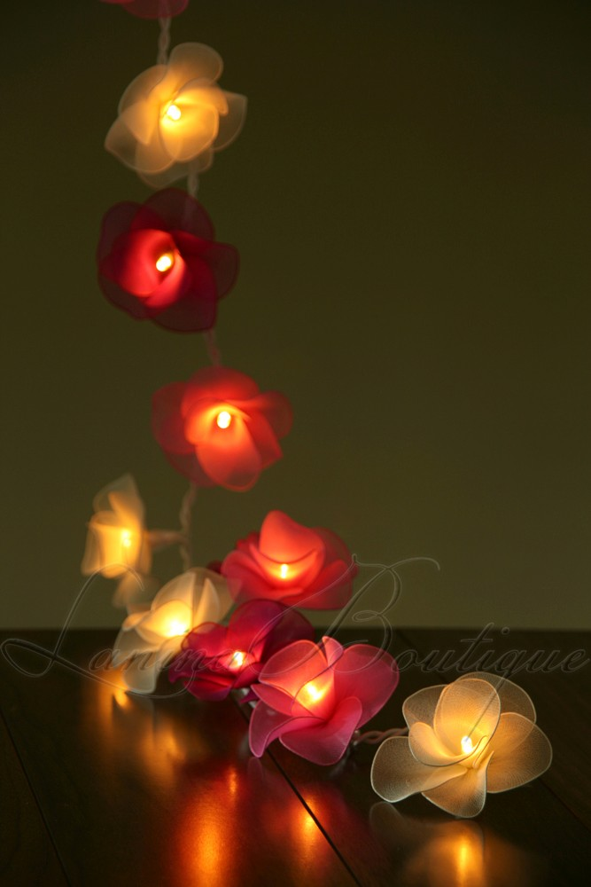 20 or 35 LED Nylon Rose Flower Plug In String Fairy Lights Floral Wedding Party