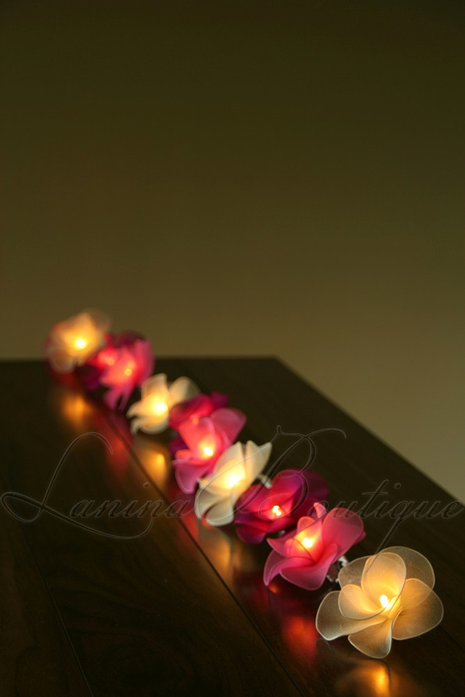 Pink String Lights Battery Operated : 20 PINK & WHITE MIX Nylon Rose Flower BATTERY Operated LED String Fairy Lights eBay