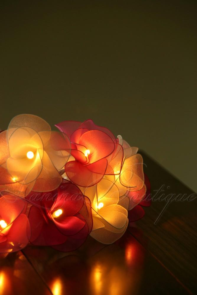 20 PINK & WHITE MIX Nylon Rose Flower BATTERY Operated LED String Fairy Lights eBay