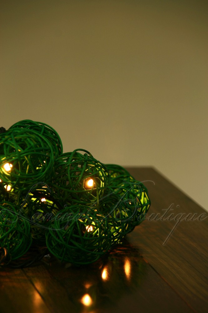20 GREEN Wicker Rattan Ball LED String Fairy Lights Lanterns Christmas Party NEW
