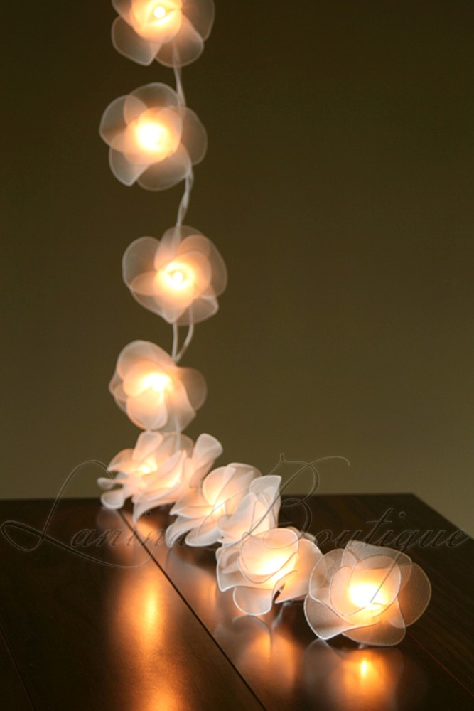 Led Rose String Lights : 20 WHITE Nylon Rose Flower BATTERY Powered LED String Fairy Lights Wedding Decor eBay