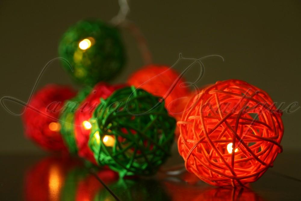 Red Rattan String Lights : 20 Red Orange Amp Green Wicker Rattan Ball LED String Fairy Lights Christmas Gift eBay