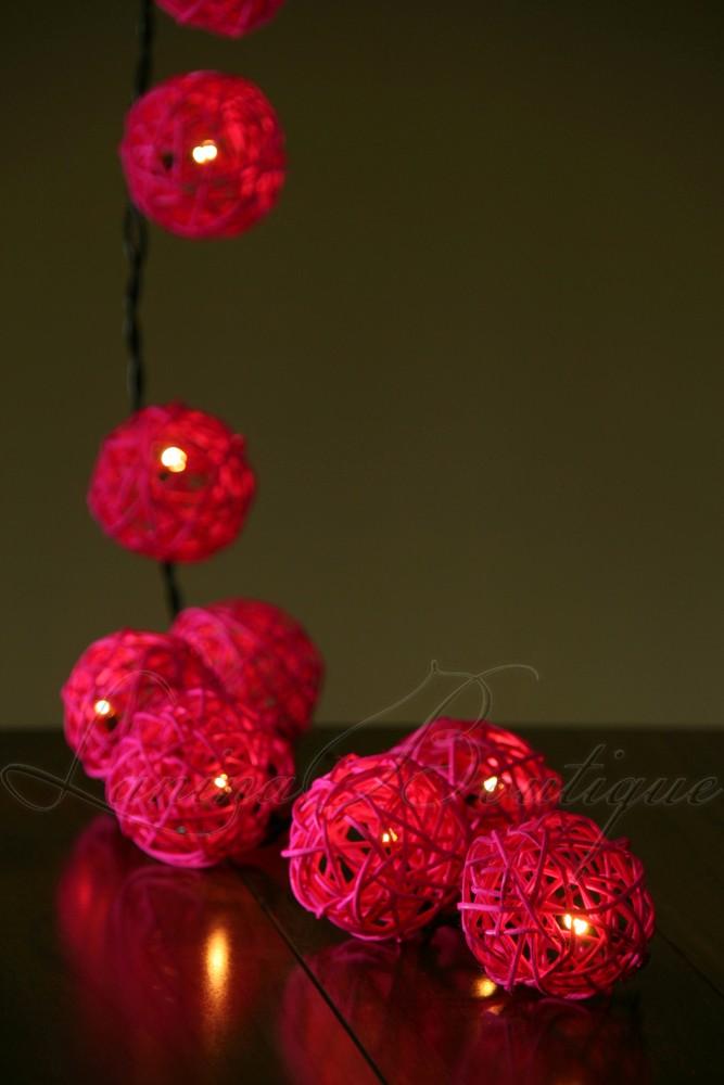 20 PINK Wicker Rattan Ball 3.5M LED String Fairy Lights Lanterns Nightlight NEW eBay