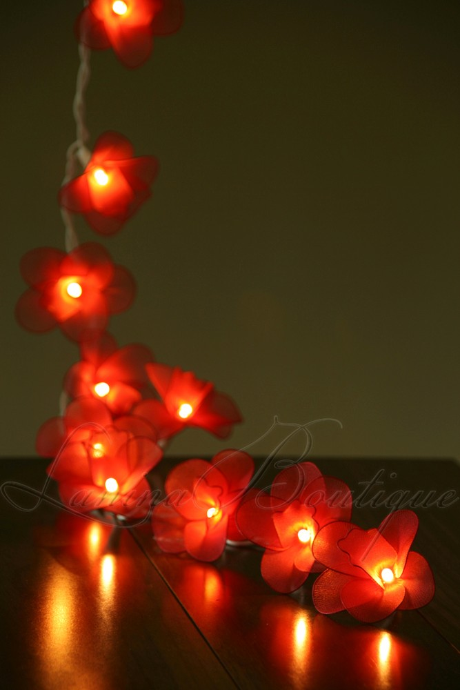 20 RED Nylon Orchid Flower LED String Fairy Lights NEW Christmas Tree Lantern eBay