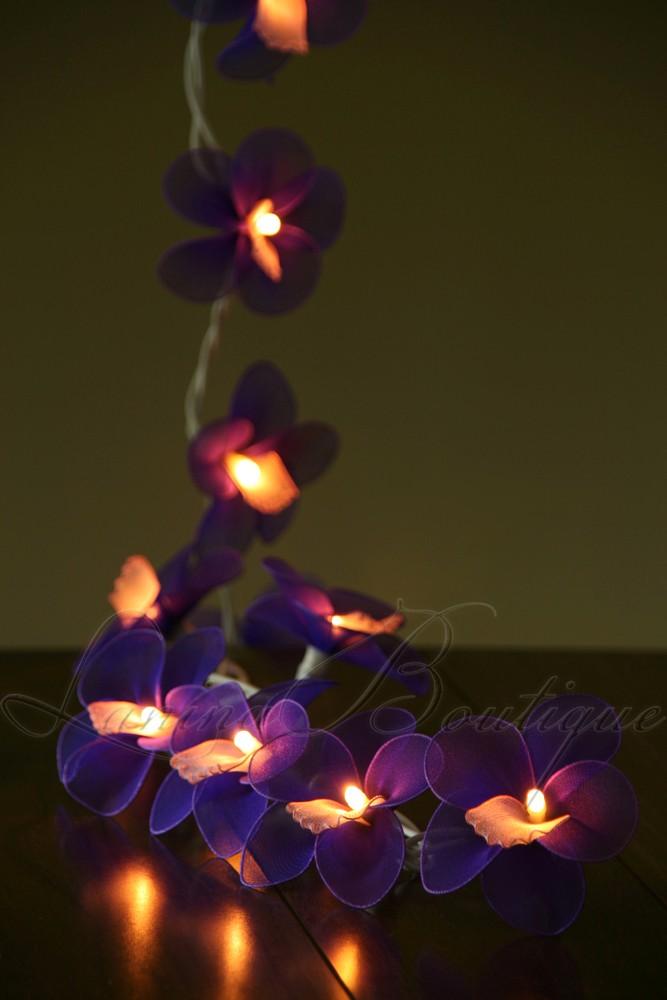 20 PURPLE Nylon Orchid Flower BATTERY Operated LED String Fairy Lights Lanterns eBay