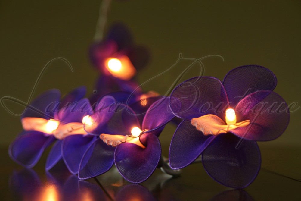 Purple Fairy String Lights : 20 PURPLE Nylon Orchid Flower BATTERY Operated LED String Fairy Lights Lanterns eBay