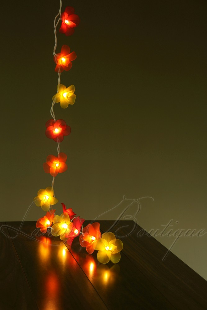Led String Lights Orange : 20 SUNSET Nylon Orchid Flower BATTERY POWERED String LED Fairy Lights Red Orange eBay