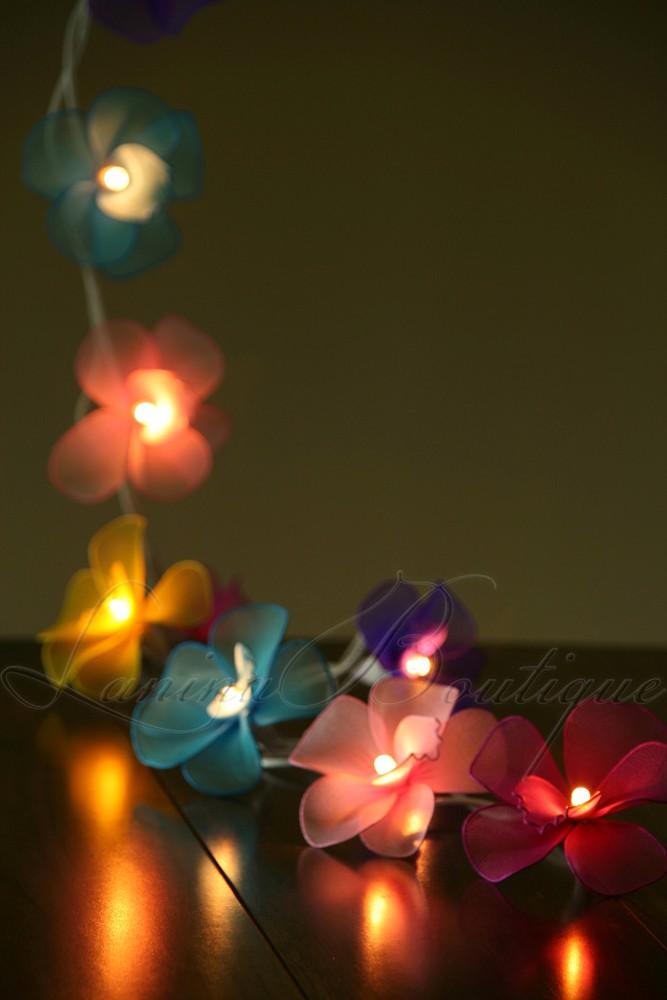 String Lights At Night : 20 MULTICOLOURED Nylon Orchid Flower LED String Fairy Lights Childs Night Light eBay