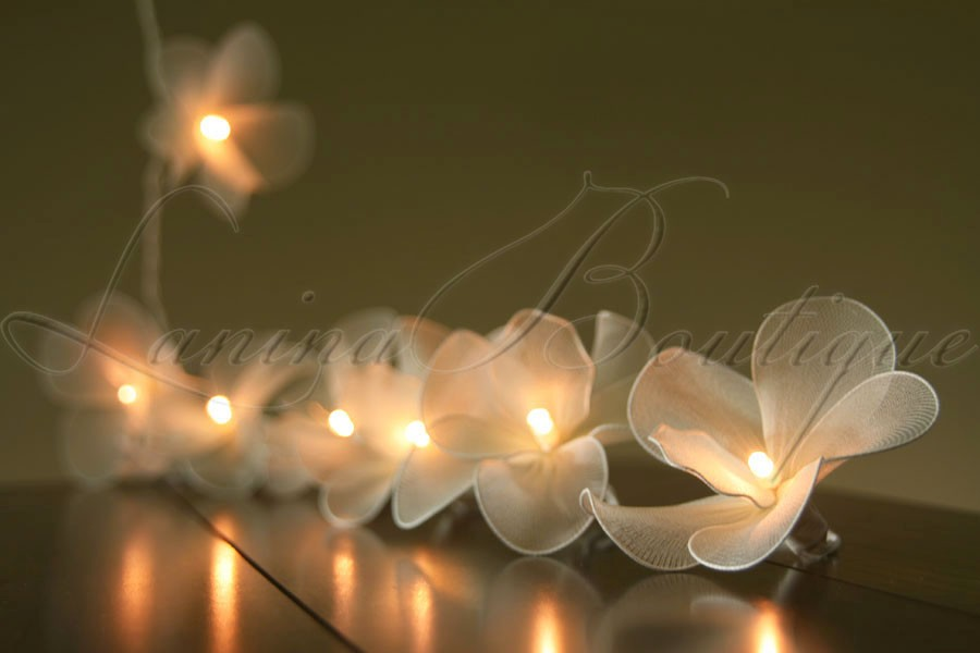 Do Led String Lights Get Hot : 20 CREAM Nylon Orchid Flower Battery Powered LED String Fairy Lights Wedding eBay