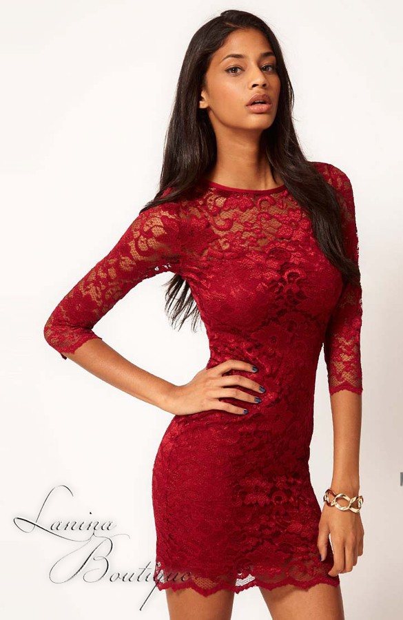 Red lace dress 14