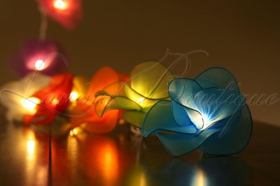 Floral Lantern String Lights : 20 Multi Colour Nylon Rose Flower LED String Fairy Lights Lanterns Floral Decor eBay