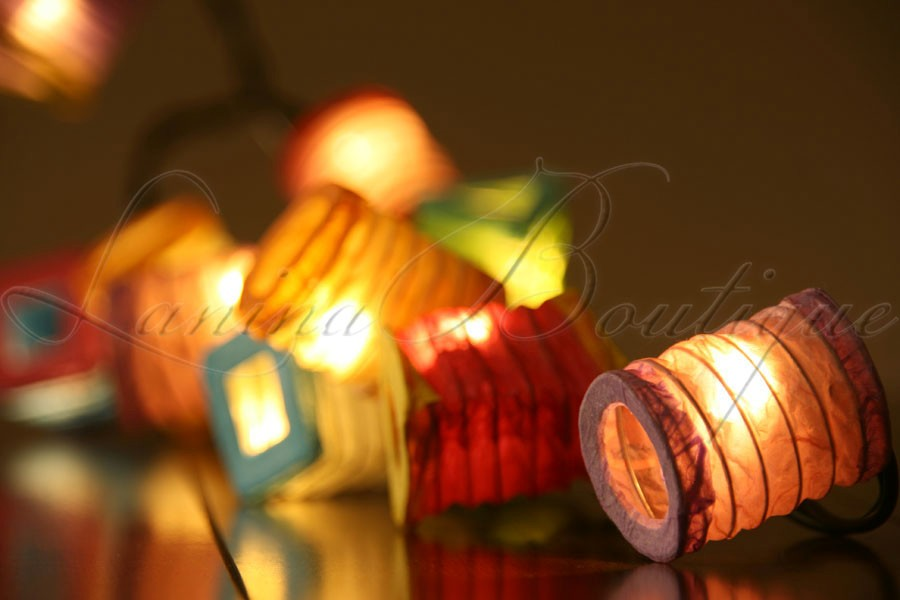 Paper Lantern String Lights Nz : 20 Multicolour BATTERY OPERATED Mini Chinese Paper Lantern 3M LED String Lights eBay