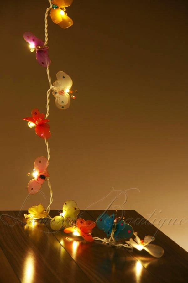 20 Butterfly LED Battery Powered String Fairy Lights Night Light Nursery Child eBay