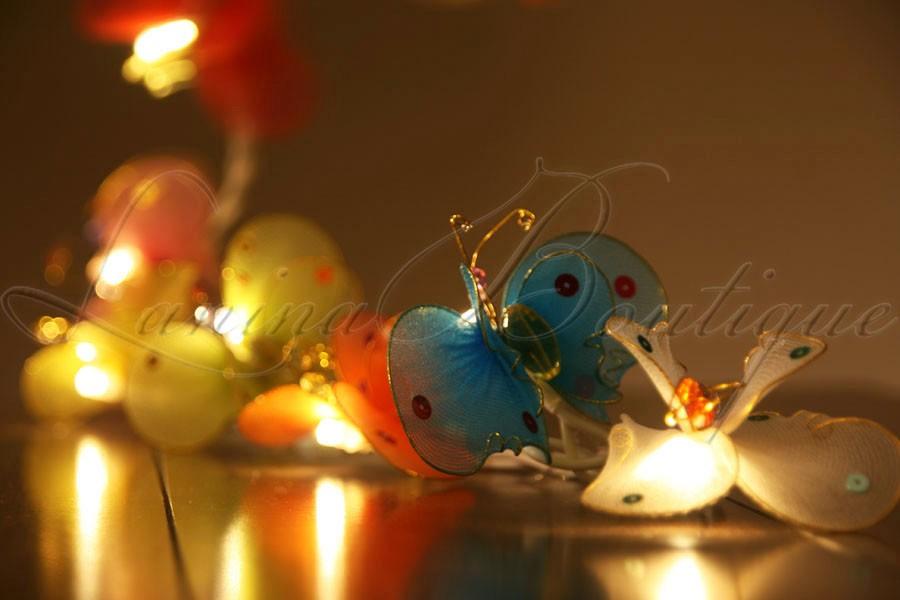 20 Butterfly LED BATTERY POWERED String Fairy Lights Night Light Nursery Child