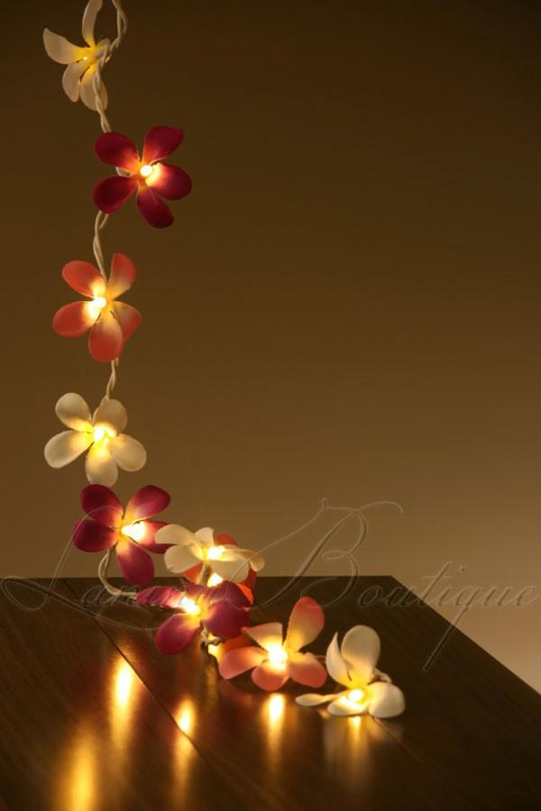 35 PINK, PURPLE & WHITE Frangipani Flower 5M LED String Fairy Lights AUS PLUG eBay