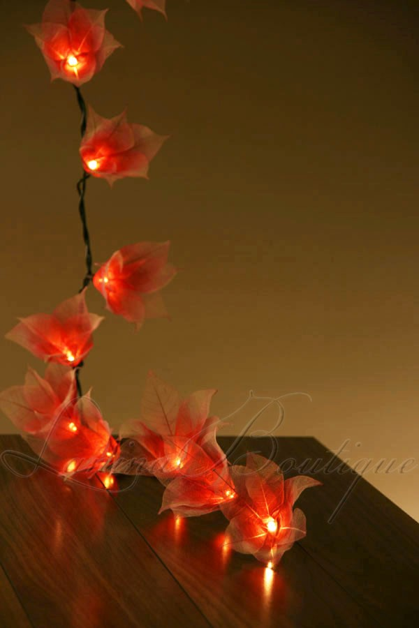 String Of Red Christmas Lights : 20 RED & WHITE Star Flower LED String Fairy Lights Lanterns Christmas Decoration