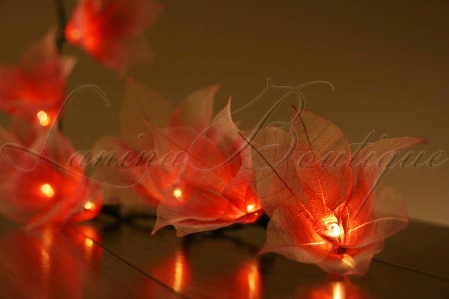 Floral Lantern String Lights : 20 RED & WHITE Star Flower LED String Fairy Lights Lanterns Christmas Decoration