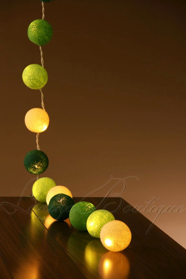 Cotton Ball String Lights Battery : 20 Green & White Mix BATTERY POWERED Cotton Ball LED String Fairy Lights Patio eBay