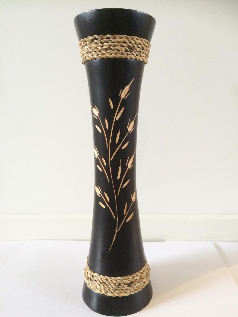 Hand Carved Solid Mango Wood Vase Wooden Decorative 16x