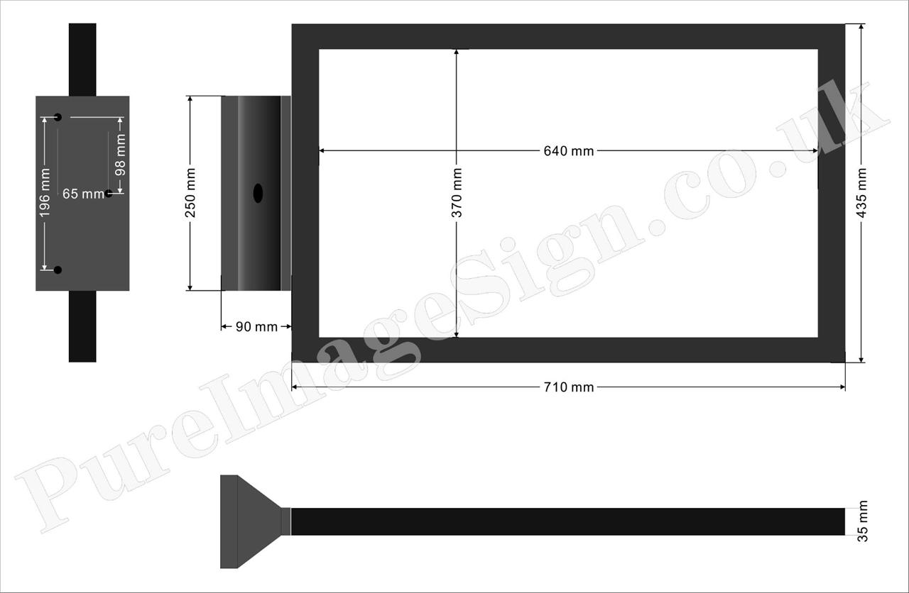 Led recto verso ext rieur magasin rectangulaire caisson for Caisson lumineux exterieur