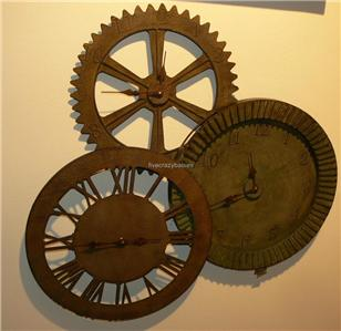 Large distressed open exposed gears wall clock for Open gear wall clock