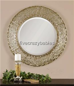 Contemporary silver woven metal wall mirror modern art for Extra large round mirror