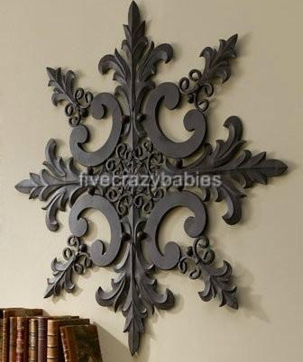 large horchow outdoor ornate wall medallion art decor - Large Metal Wall Decor