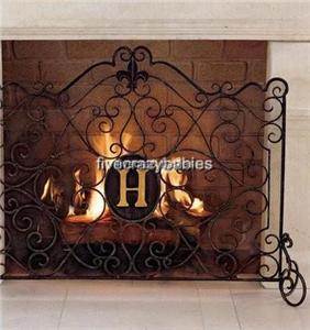 Horchow MONOGRAMMED SWIRL Firescreen Fireplace Screen Iron