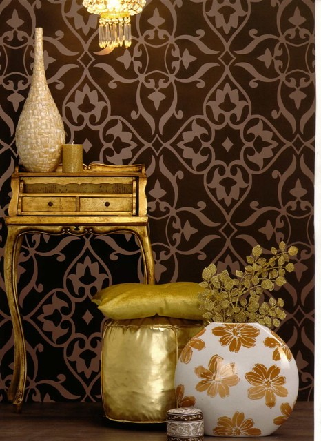 Details about Wallpaper Glamour Brown Metallic Sold by the Roll
