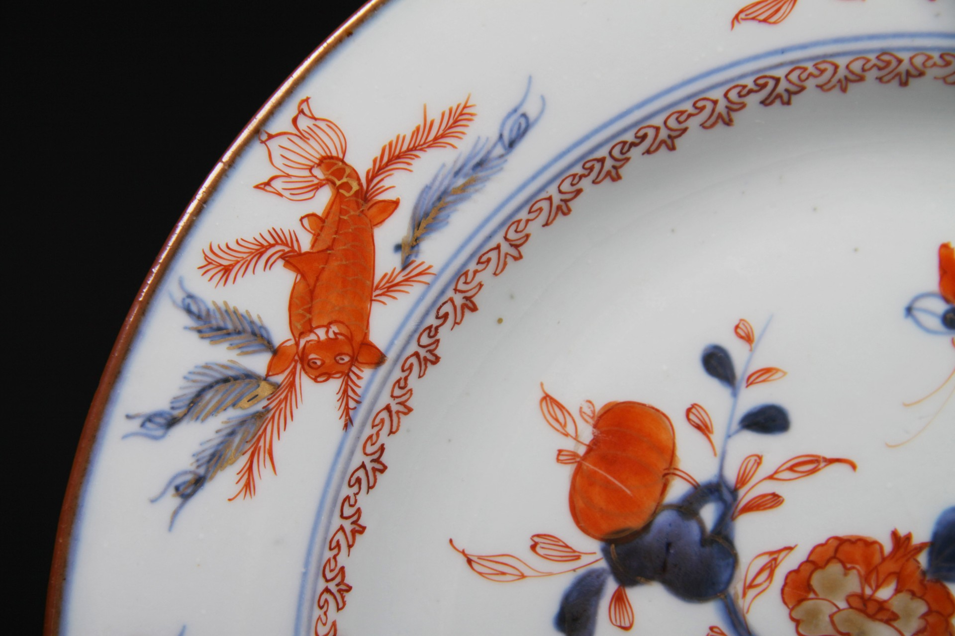 Rare antique 18thc chinese imari porcelain plate koi fish for Rare koi fish