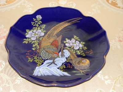 Vintage Blue Porcelain Mizuko Japan Plate Gold Trim Ebay