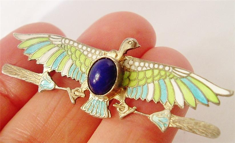 DECO EGYPTIAN REVIVAL SILVER ENAMEL LAPIS VULTURE BROOCH NO RES