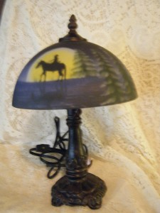 vtg brass portable luminaire table lamp w reverse hand painted satin glass shade. Black Bedroom Furniture Sets. Home Design Ideas