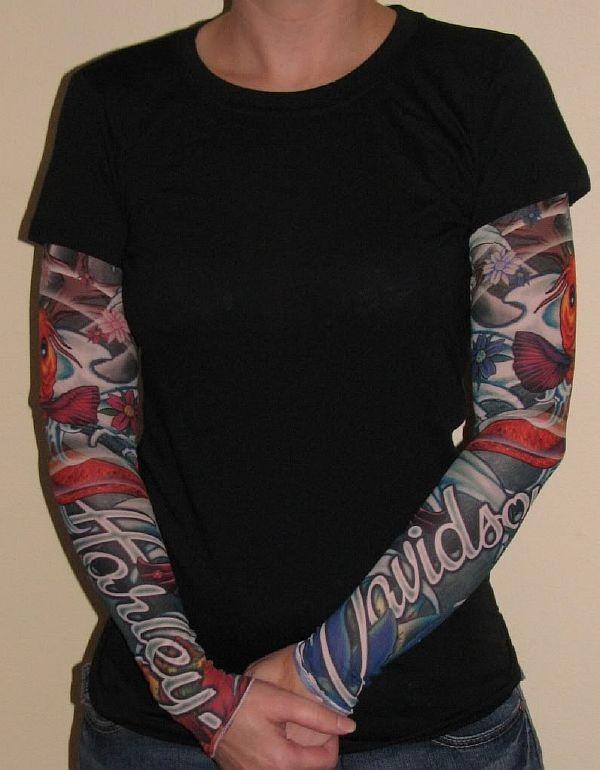 Womens harley davidson tattoo sleeve shirt new for Tattoo sleeve shirts for women