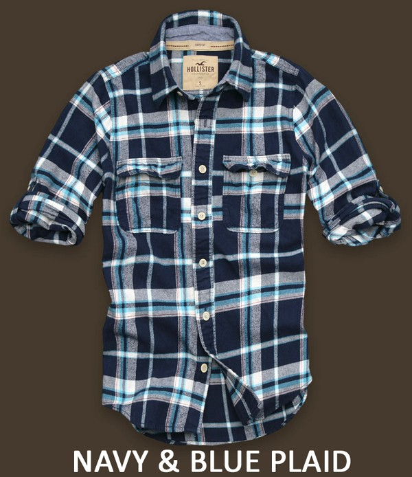 Nwt new mens hollister plaid flannel shirt button down for Navy blue and red flannel shirt