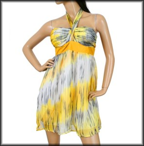 Yellow Gray BABY DOLL HALTER DRESS S M or L