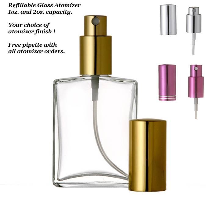 Refillable Perfume Bottle Macy S: New Refillable Glass Perfume Spray Atomizer 1oz 2oz Flat Square