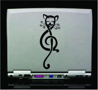 Tribal Cat Music Note Vinyl Die Cut Decal   18 colors