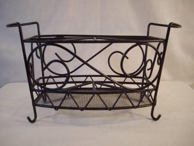 Wrought iron picnic caddy napkins flatware condiments black handles ebay - Wrought iron flatware ...